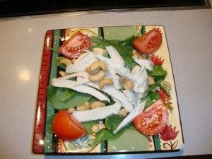 Salad with curry dressing and leftover turkey