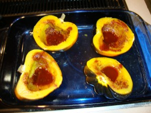 Acorn Squash baked with Truvia and Cinnmon