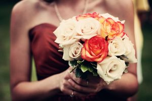 Bridesmaid with bouquet